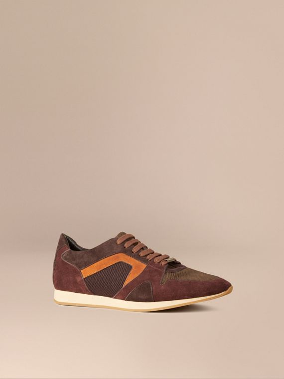 The Field Sneaker in Colour Block Suede and Mesh Russet Brown