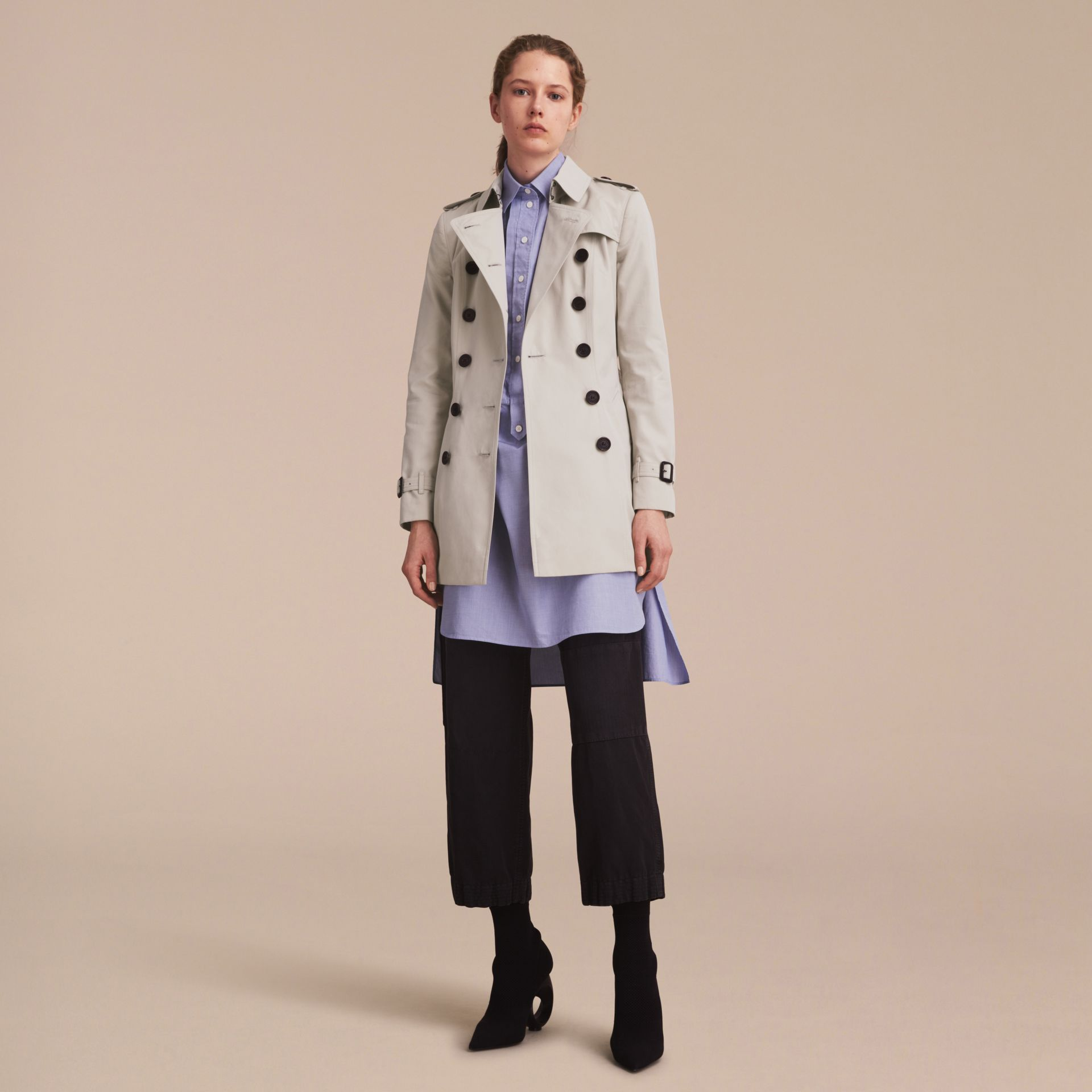 Stone The Chelsea – Short Heritage Trench Coat Stone - gallery image 1