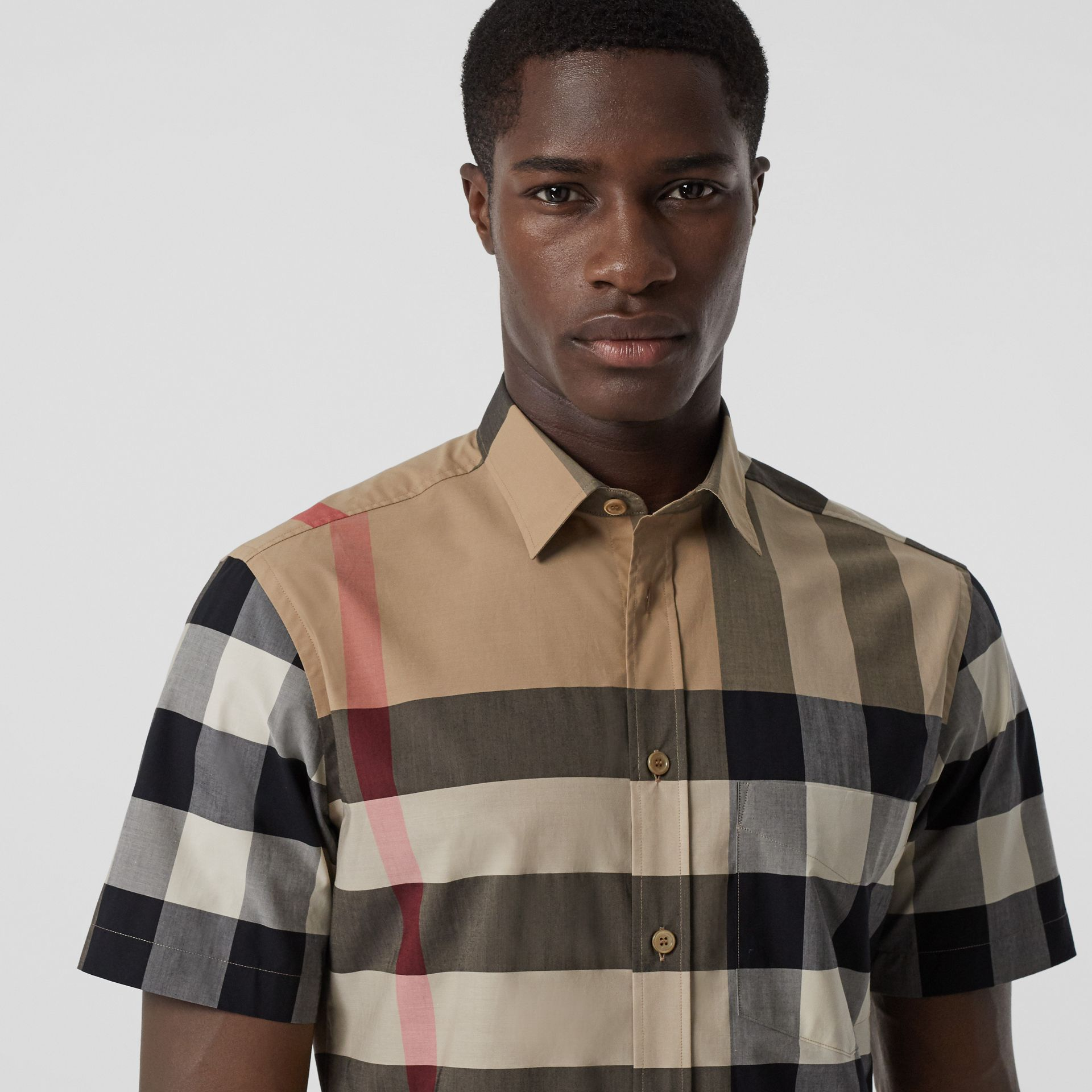 Short-sleeve Check Stretch Cotton Poplin Shirt in Archive Beige - Men | Burberry - gallery image 1