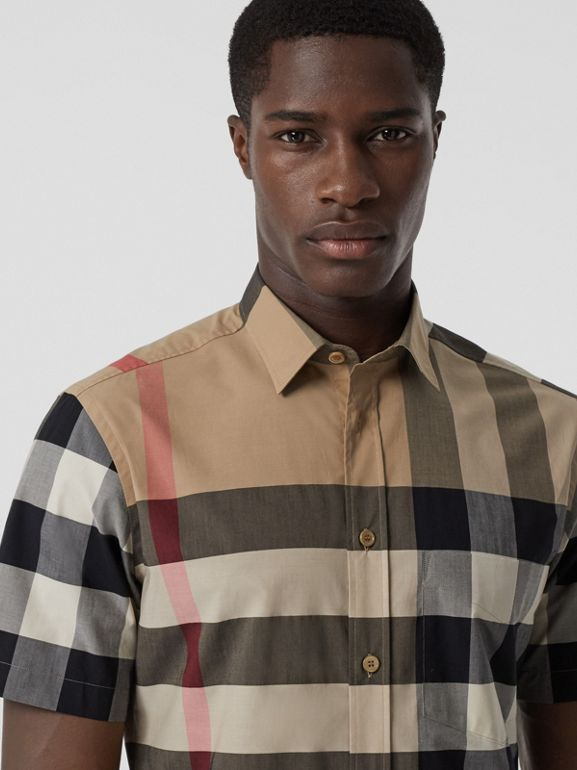 Short-sleeve Check Stretch Cotton Poplin Shirt in Archive Beige - Men | Burberry - cell image 1