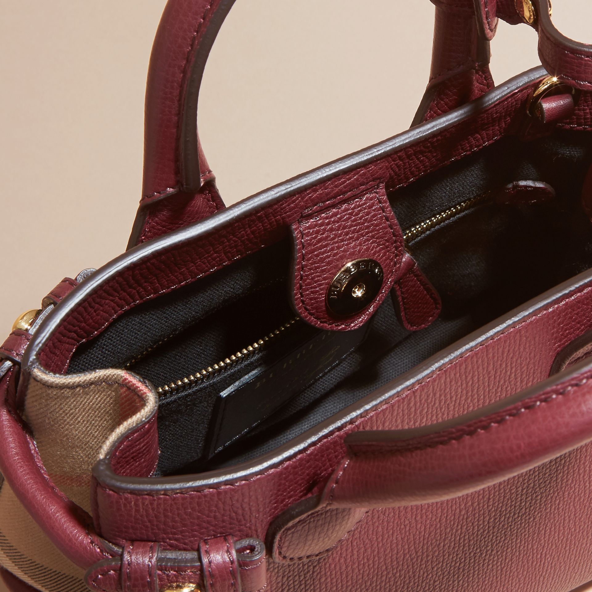The Baby Banner in Leather and House Check in Mahogany Red - Women | Burberry Canada - gallery image 6