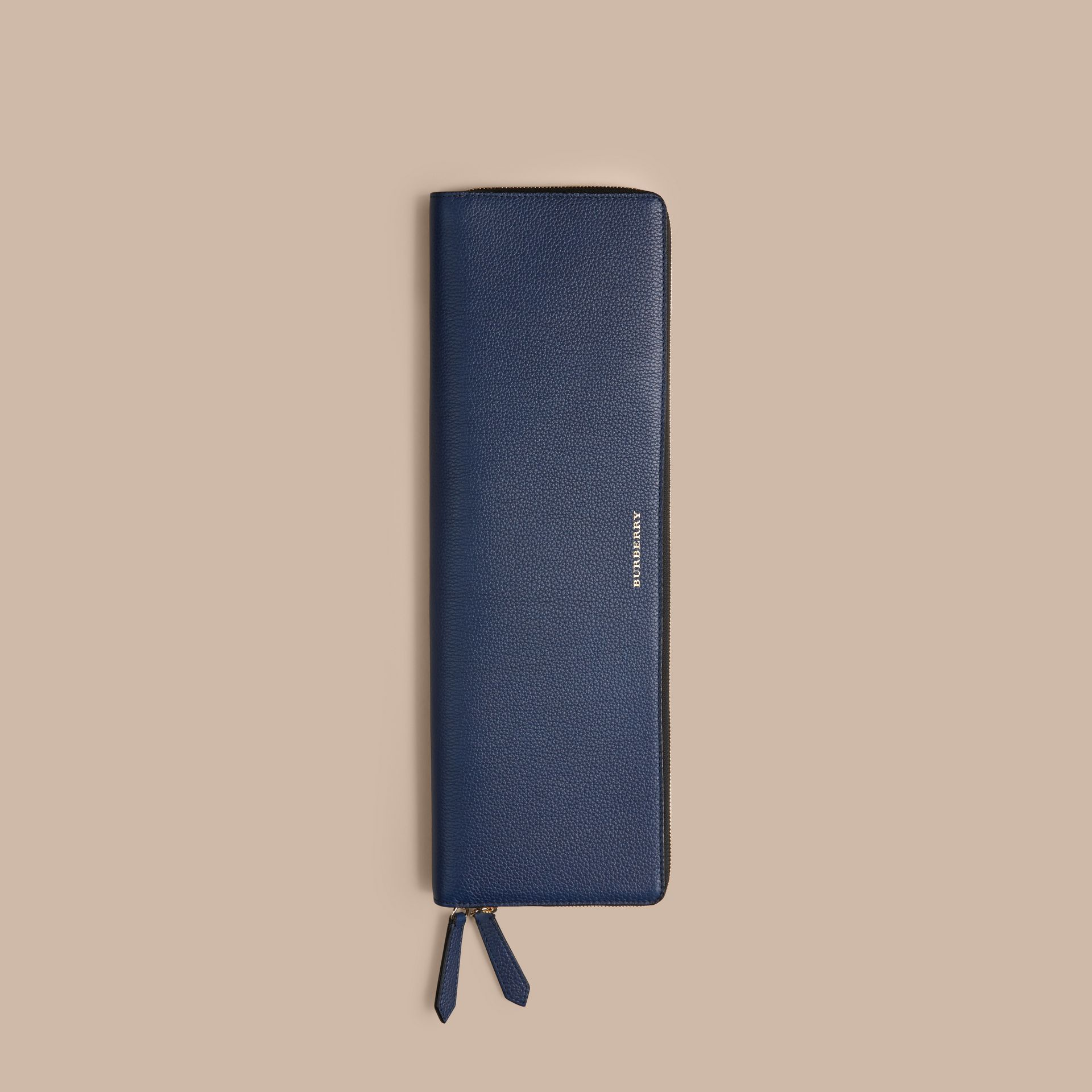 Bright navy Grainy Leather Tie Case Bright Navy - gallery image 4
