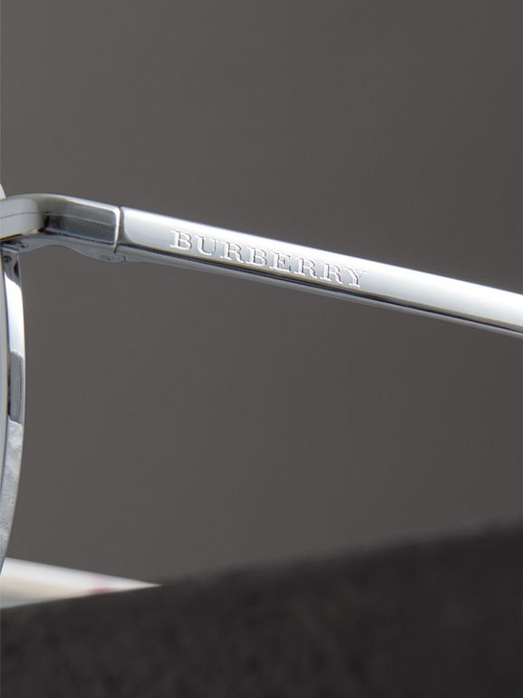 Top Bar Detail Pilot Sunglasses in Grey - Men | Burberry Australia - cell image 1