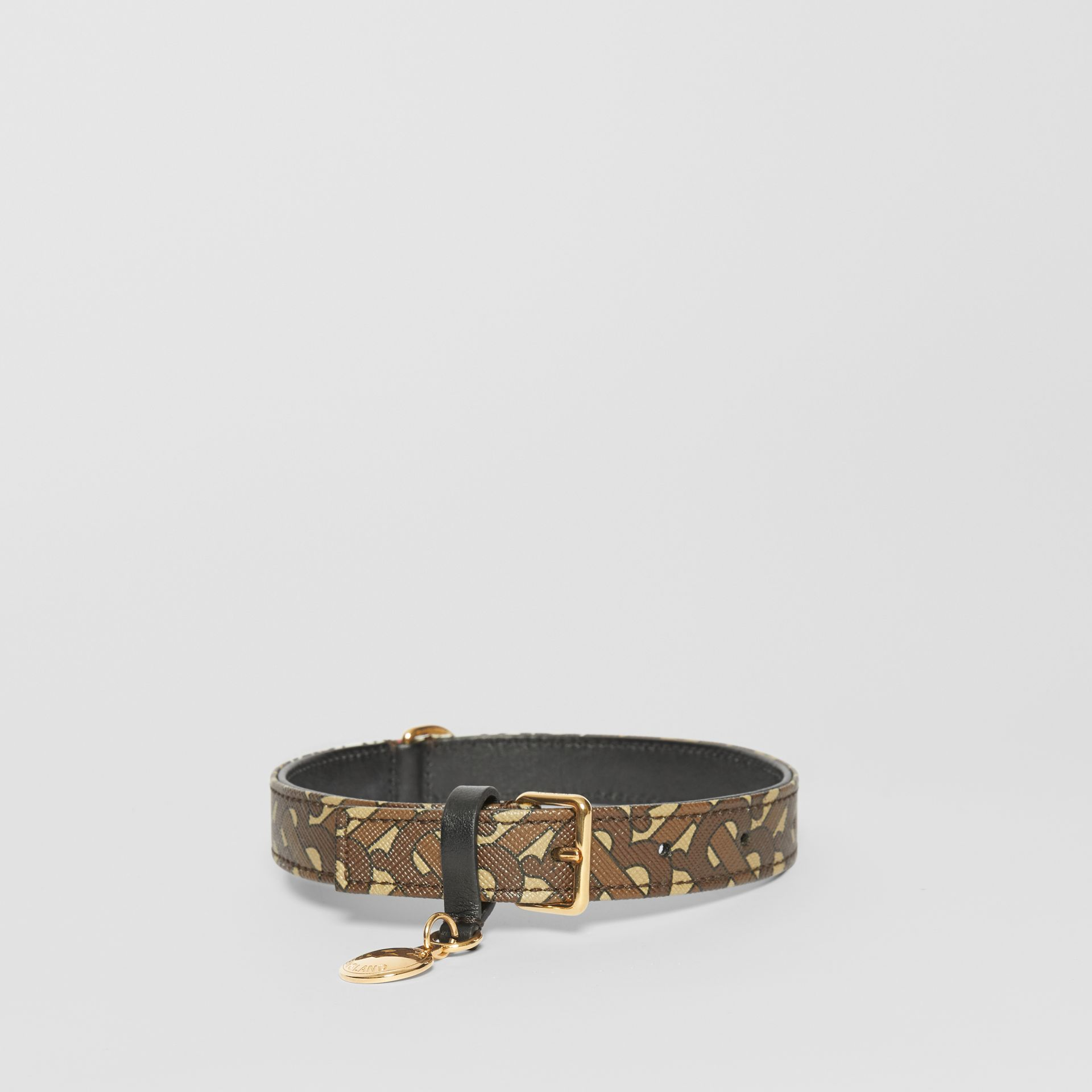 Medium/Large Monogram Stripe E-canvas Dog Collar in Bridle Brown | Burberry - gallery image 0