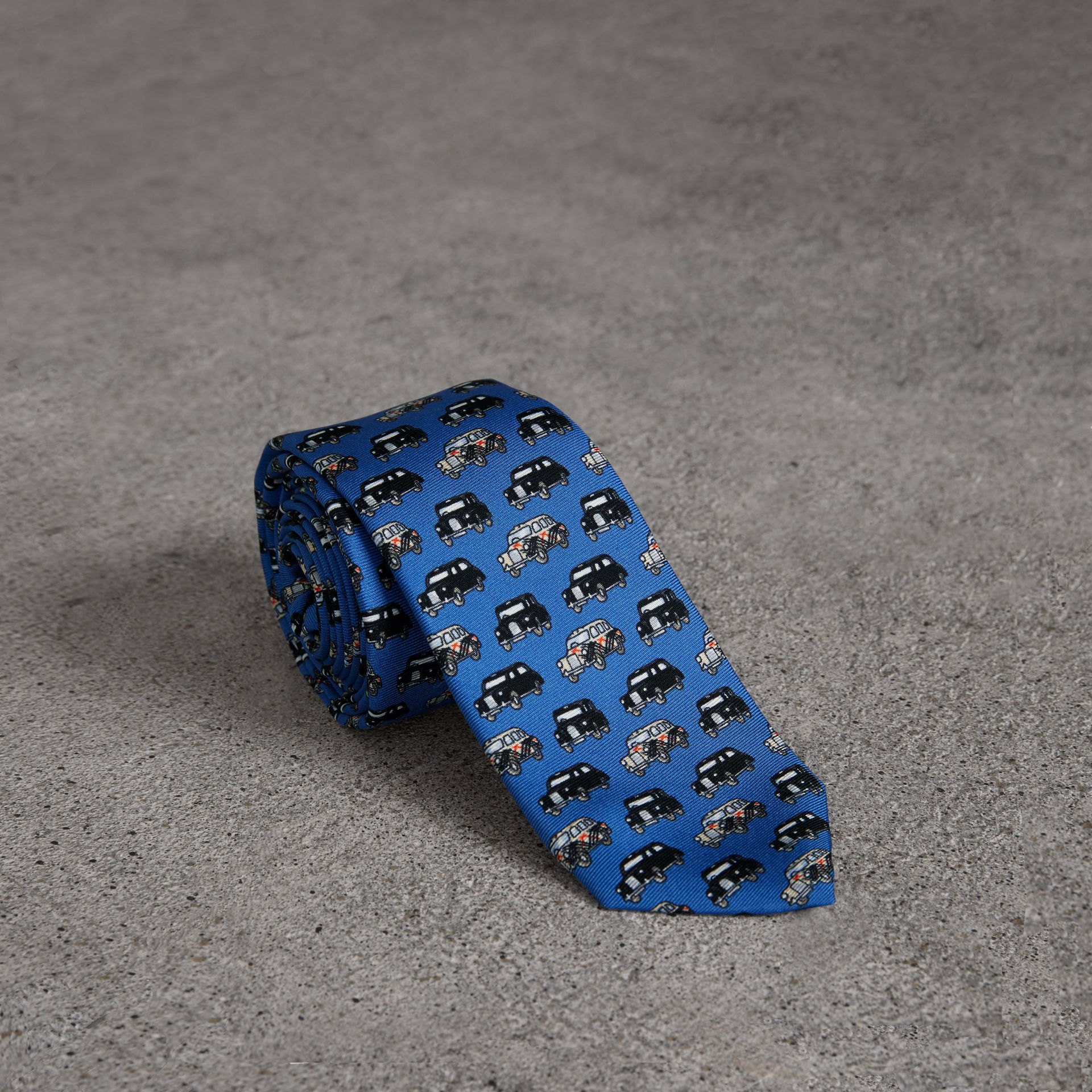 Slim Cut Taxi Print Silk Tie in Hydrangea Blue - Men | Burberry Canada - gallery image 0
