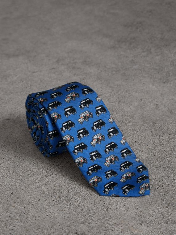 Slim Cut Taxi Print Silk Tie in Hydrangea Blue