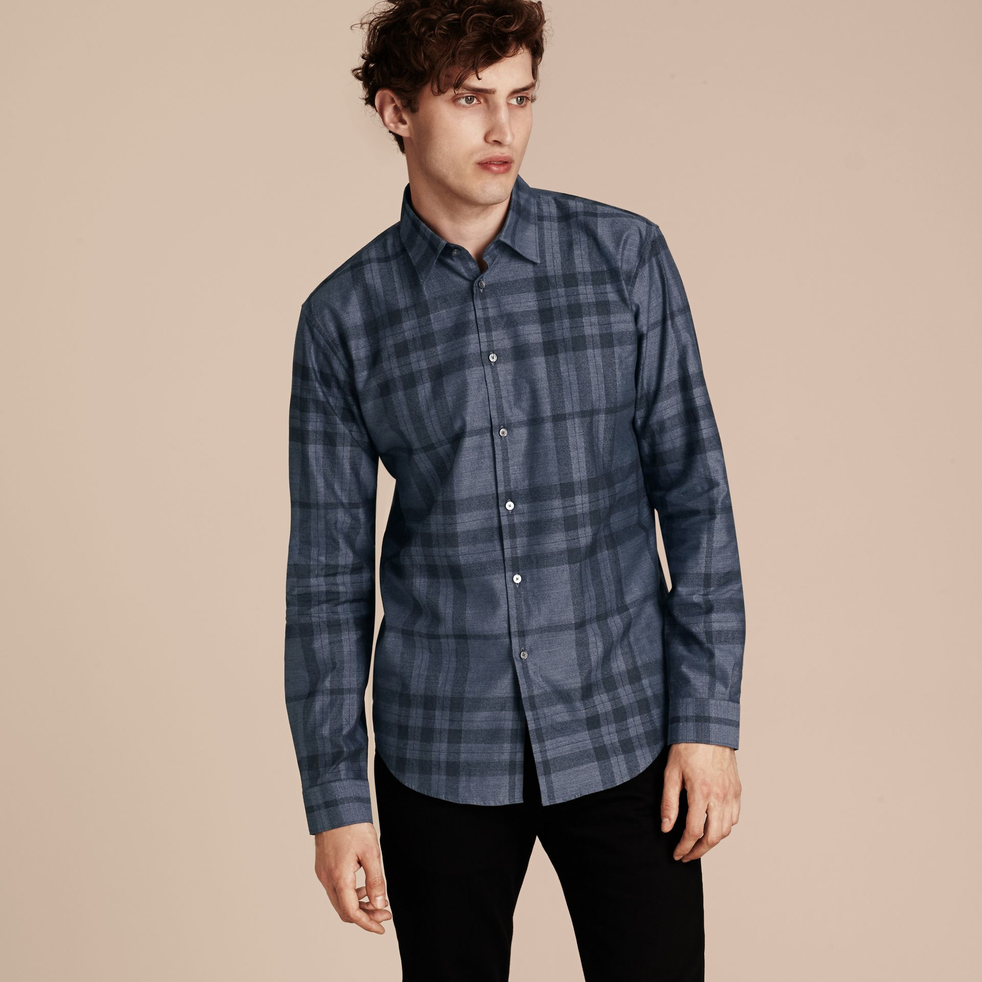 Bright steel blue Check Cotton Flannel Shirt Bright Steel Blue - gallery image 6