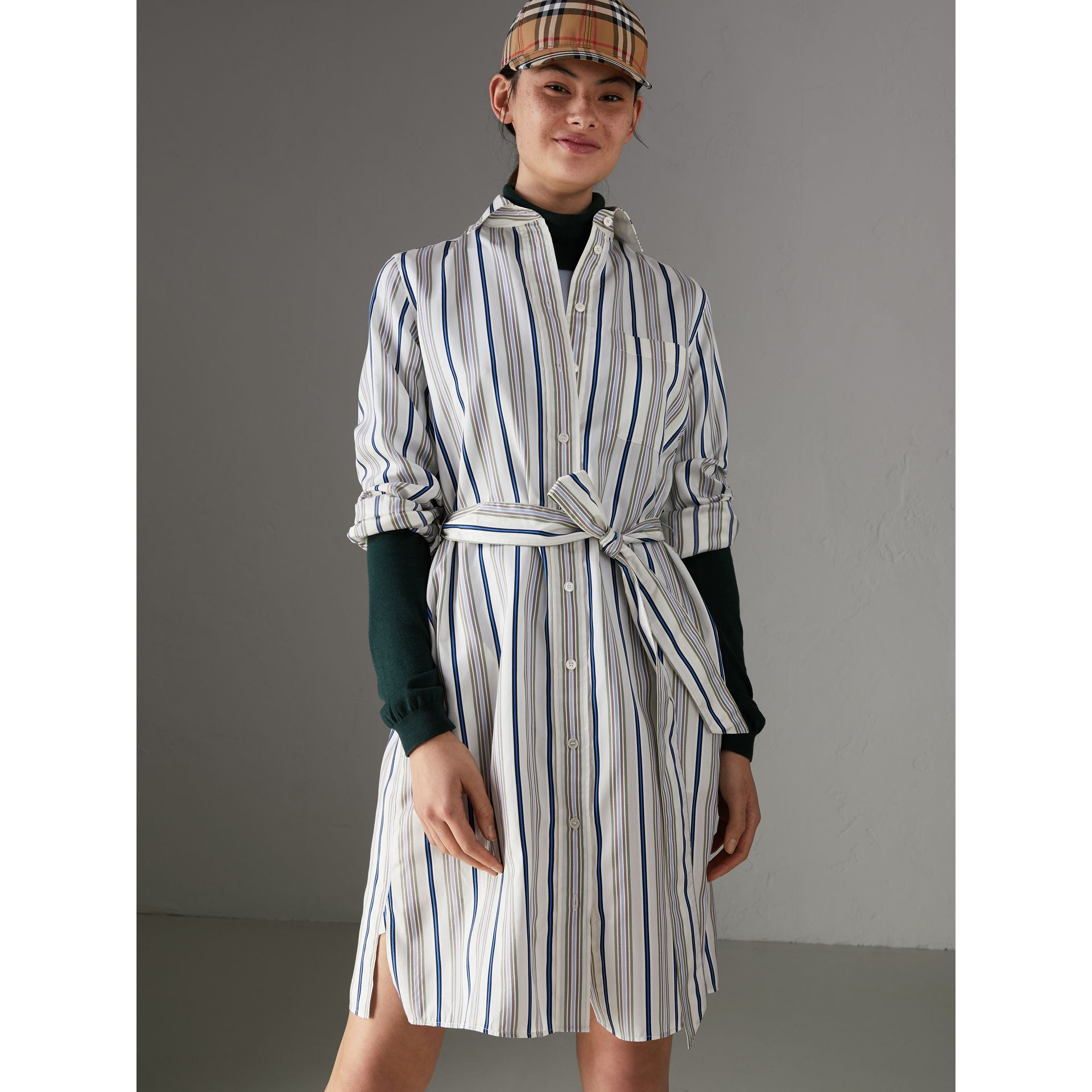 Striped Silk Shirt Dress in Off White - Women | Burberry United States - gallery image 4