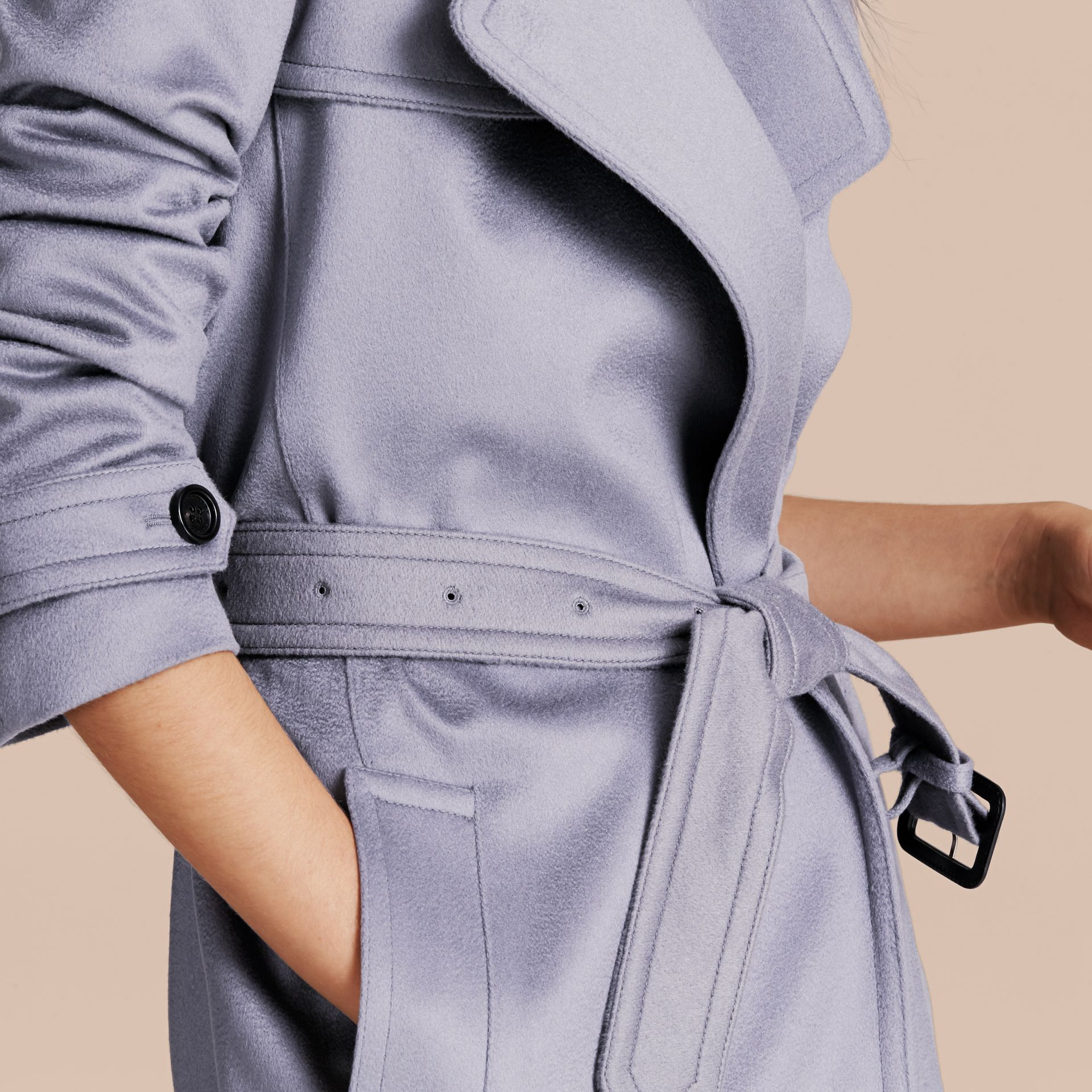 Cashmere Wrap Trench Coat in Dusty Blue - gallery image 5