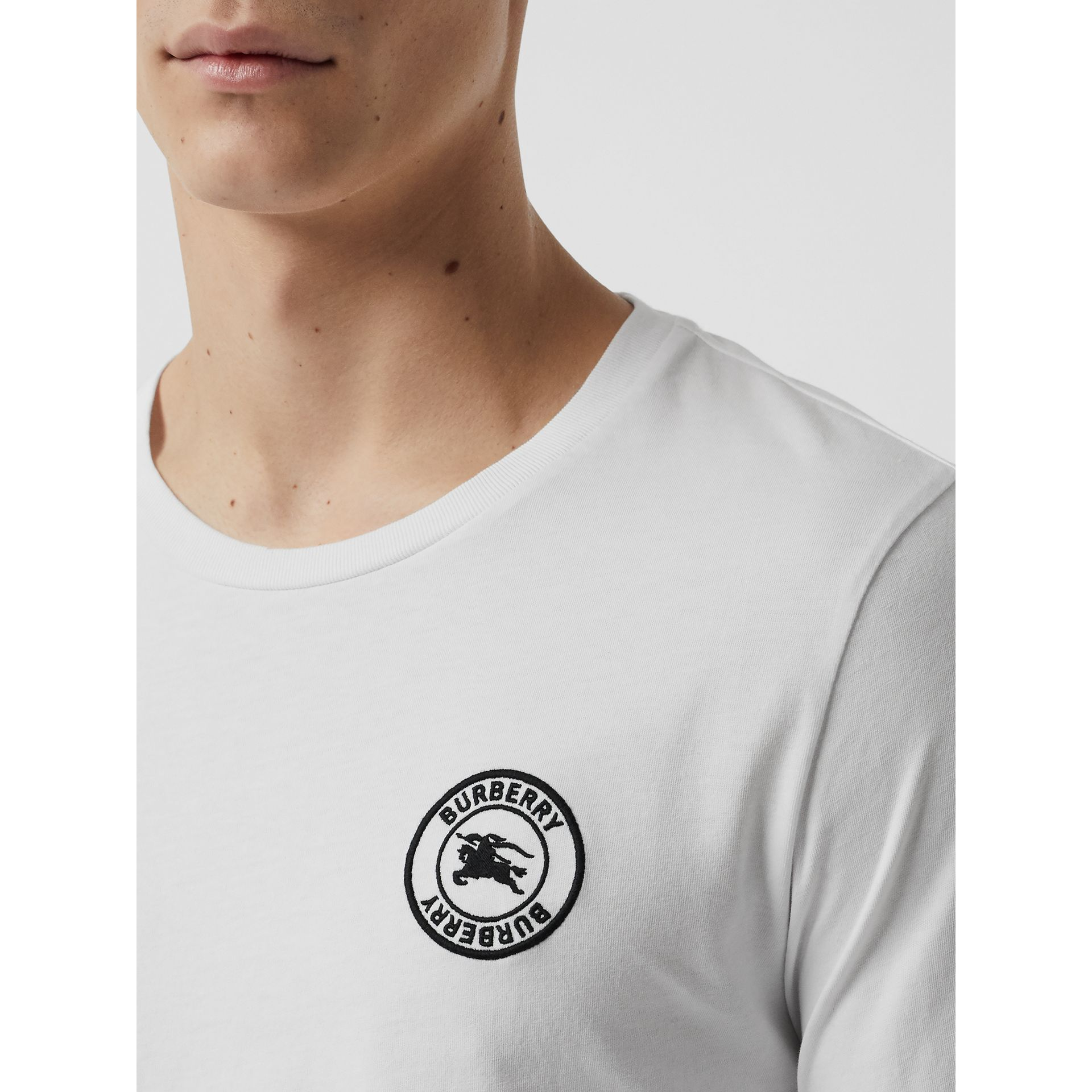 Long Sleeve Embroidered Logo Cotton T-shirt in White - Men | Burberry - gallery image 1
