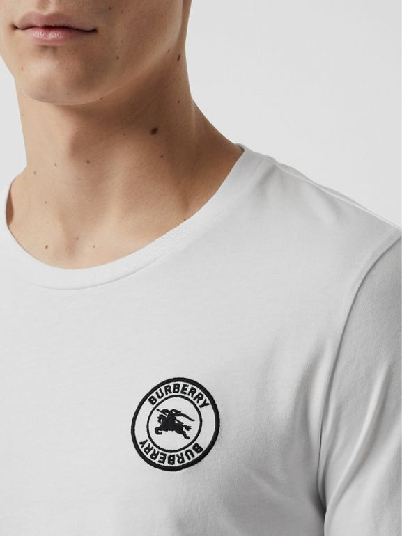 Long Sleeve Embroidered Logo Cotton T-shirt in White - Men | Burberry Canada - cell image 1