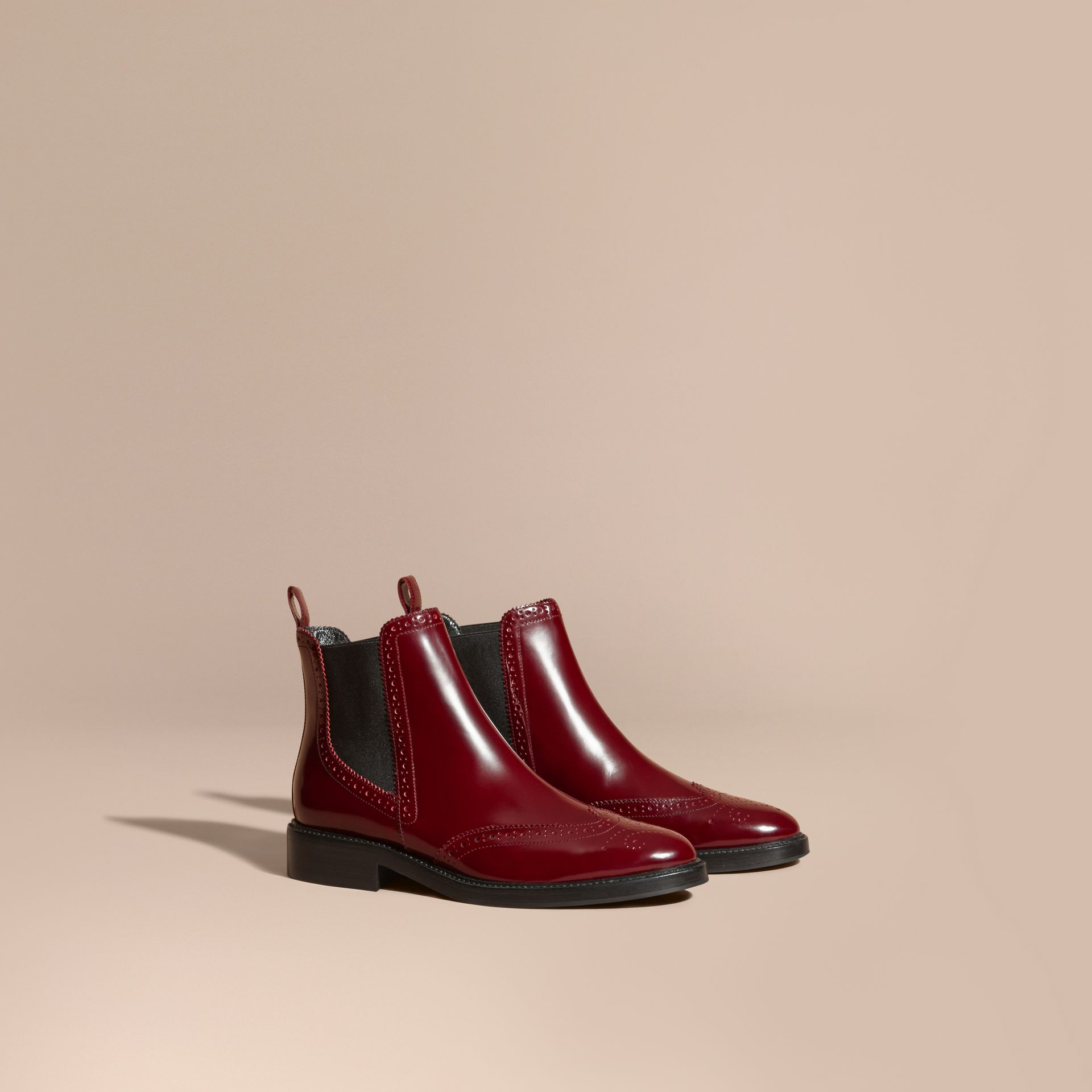 Rouge acajou Bottines Chelsea en cuir avec bout golf Rouge Acajou - photo de la galerie 1