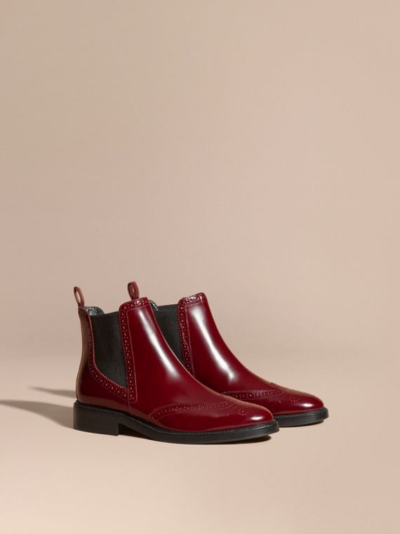 Leather Wingtip Chelsea Boots Mahogany Red