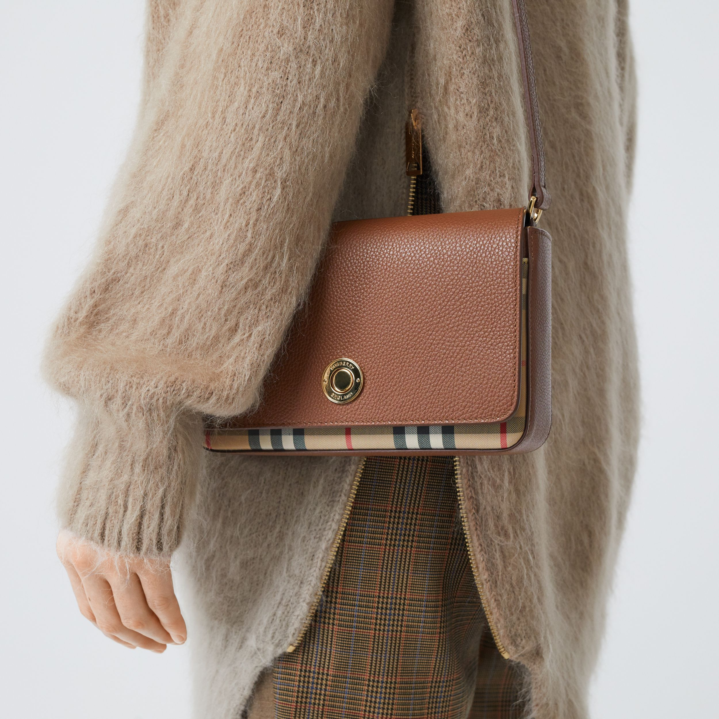 Small Leather and Vintage Check Crossbody Bag in Tan - Women | Burberry Australia - 3