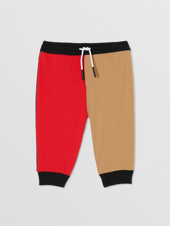 Colour Block Cotton Piqué Trackpants in Archive Beige