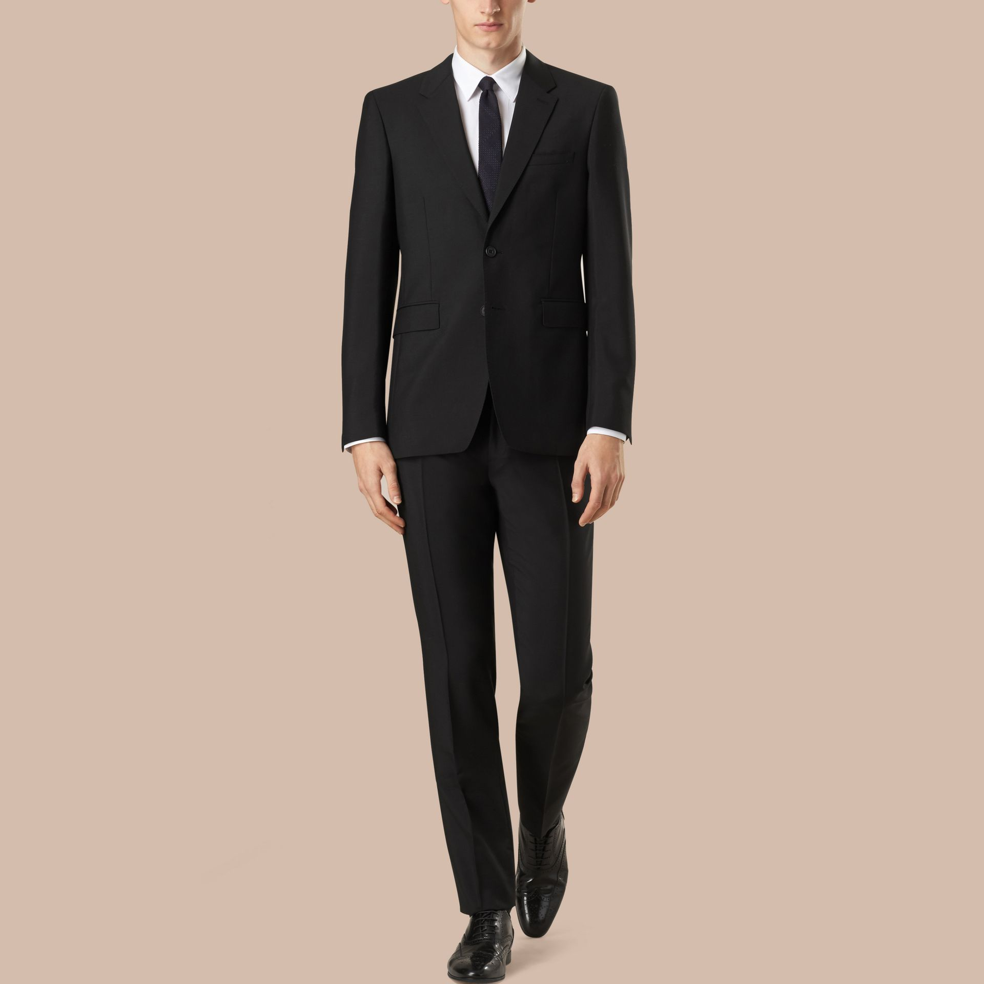 Modern Fit Wool Mohair Part-canvas Suit in Black - gallery image 1