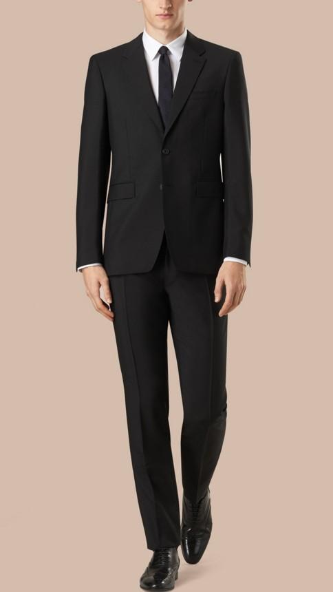 Black Modern Fit Wool Mohair Part-canvas Suit Black - Image 1