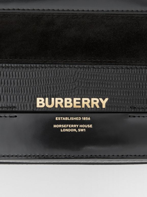 Small Panelled Deerskin and Suede Grace Bag in Black - Women | Burberry United States - cell image 1