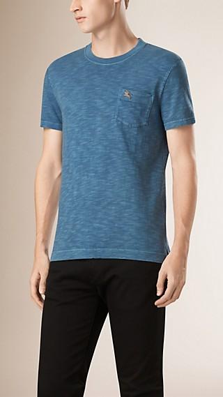 Camiseta de malha de algodão texturizado duplamente tingida