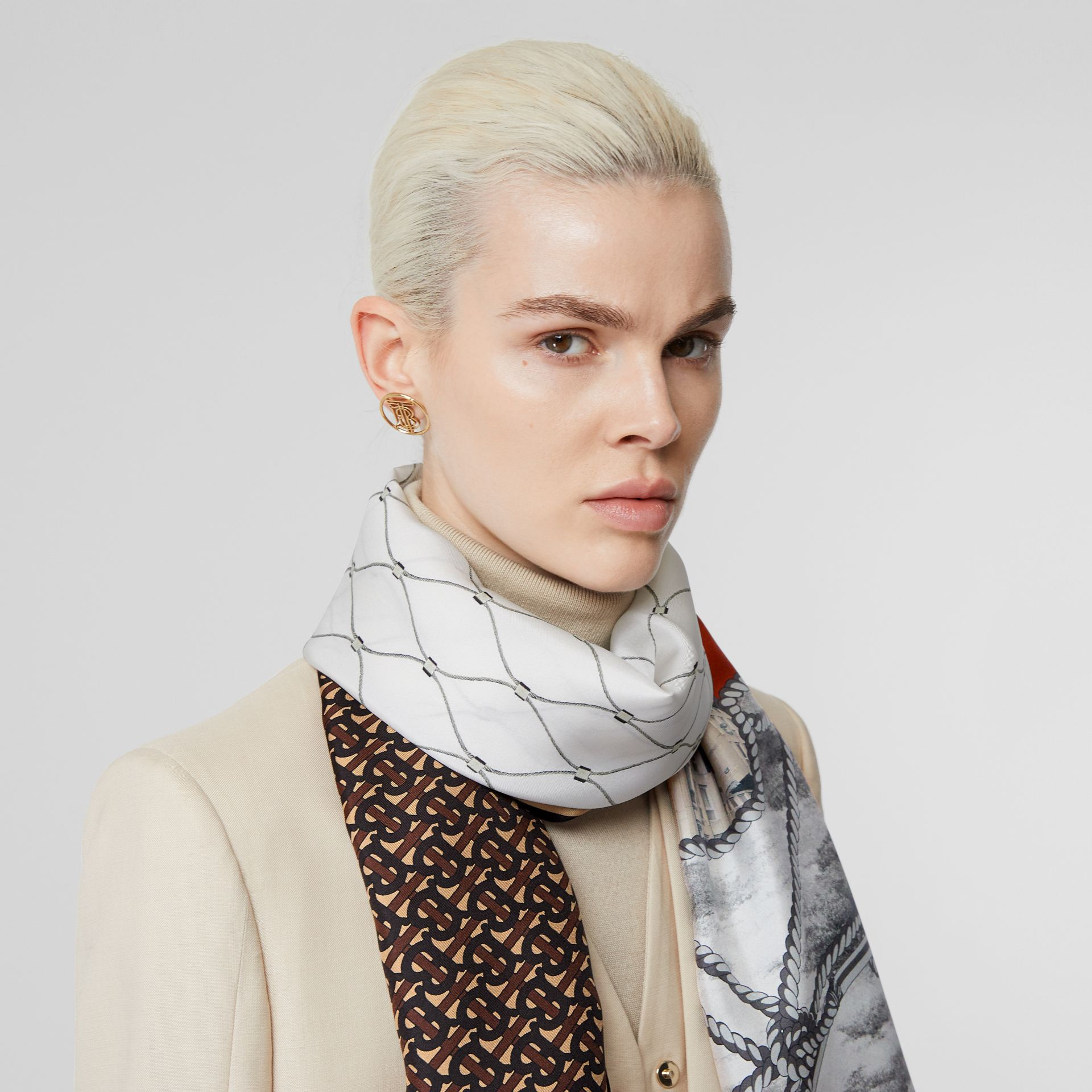 Rigging, Net and Monogram Print Silk Scarf in Dark Mocha | Burberry United States - gallery image 2