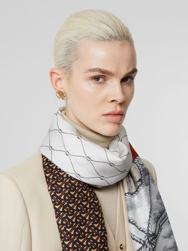 Rigging, Net and Monogram Print Silk Scarf in Dark Mocha | Burberry - cell image 2