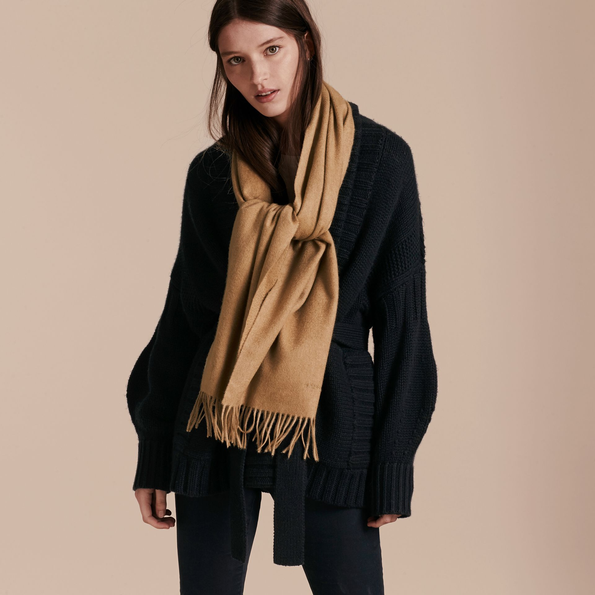 The Classic Cashmere Scarf in Camel | Burberry - gallery image 3