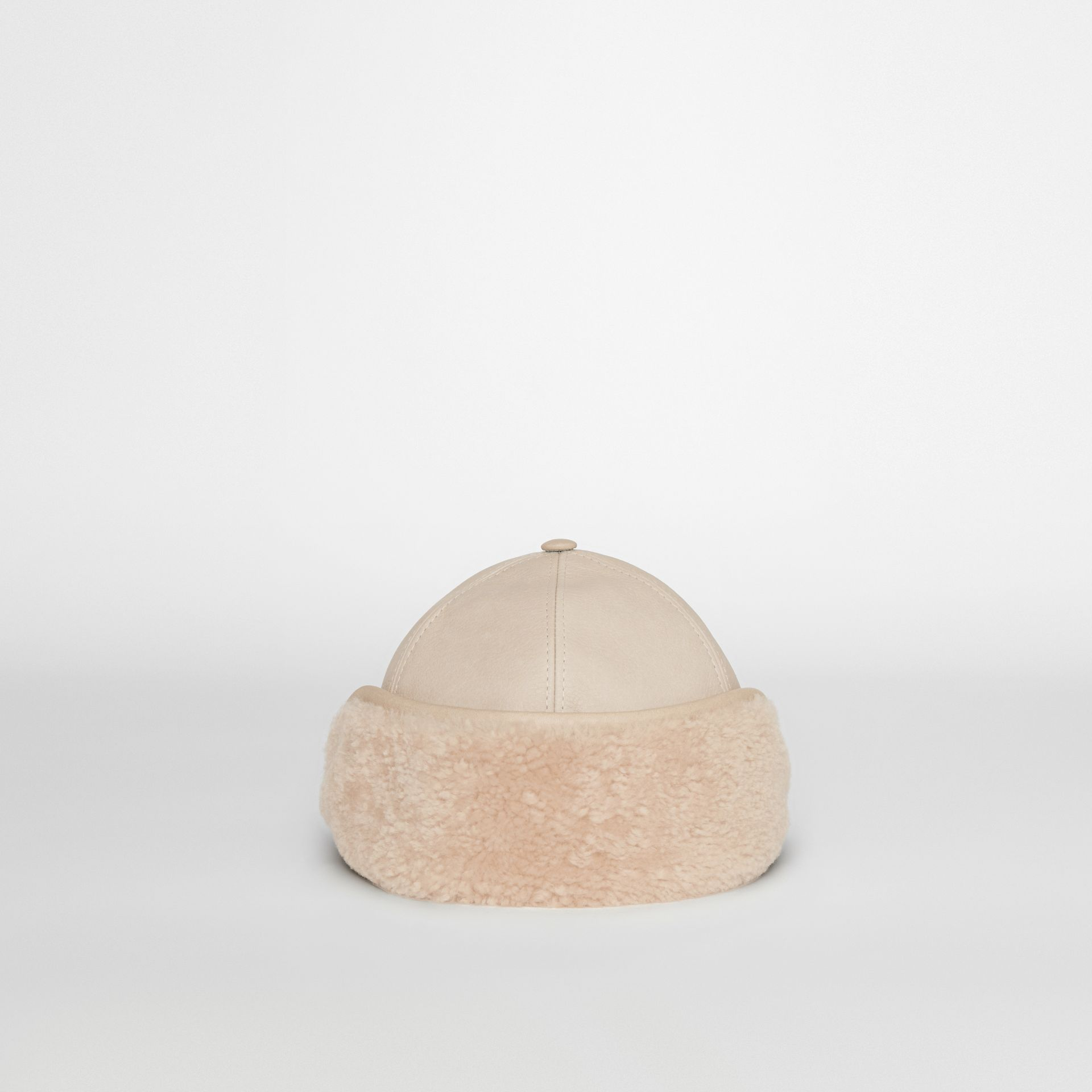 Leather and Shearling Cap in Limestone | Burberry - gallery image 2
