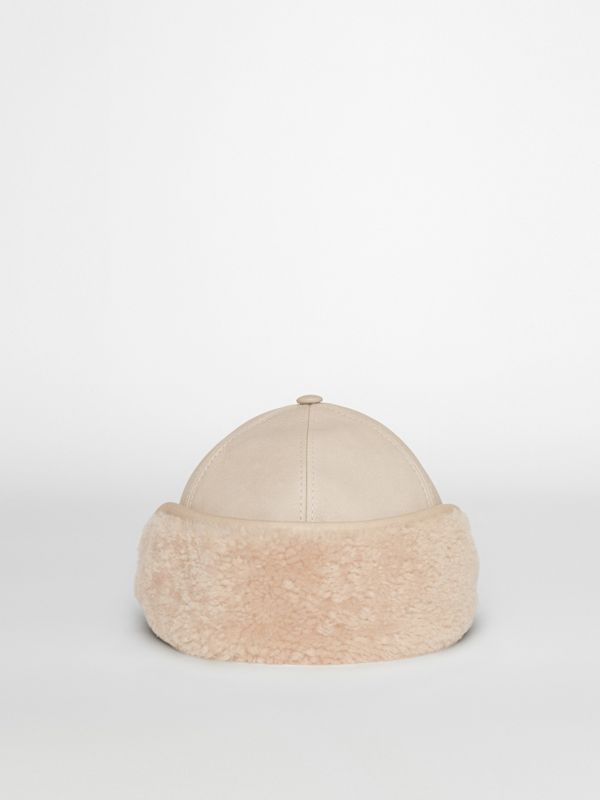 Leather and Shearling Cap in Limestone | Burberry - cell image 2