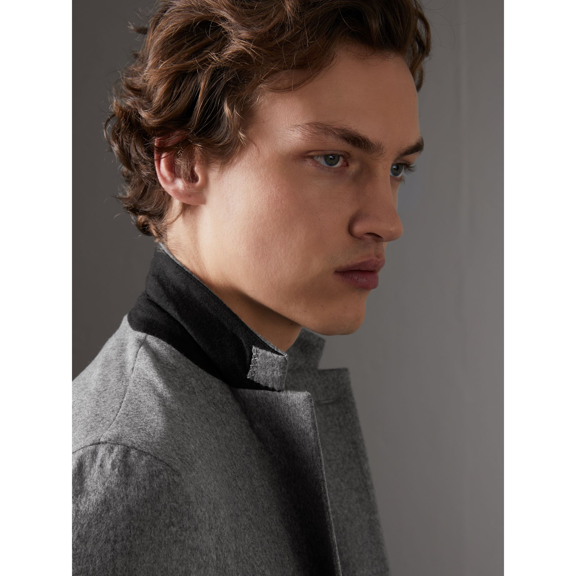 Soho Fit Cashmere Tailored Jacket in Mid Grey Melange - Men | Burberry Australia - gallery image 1