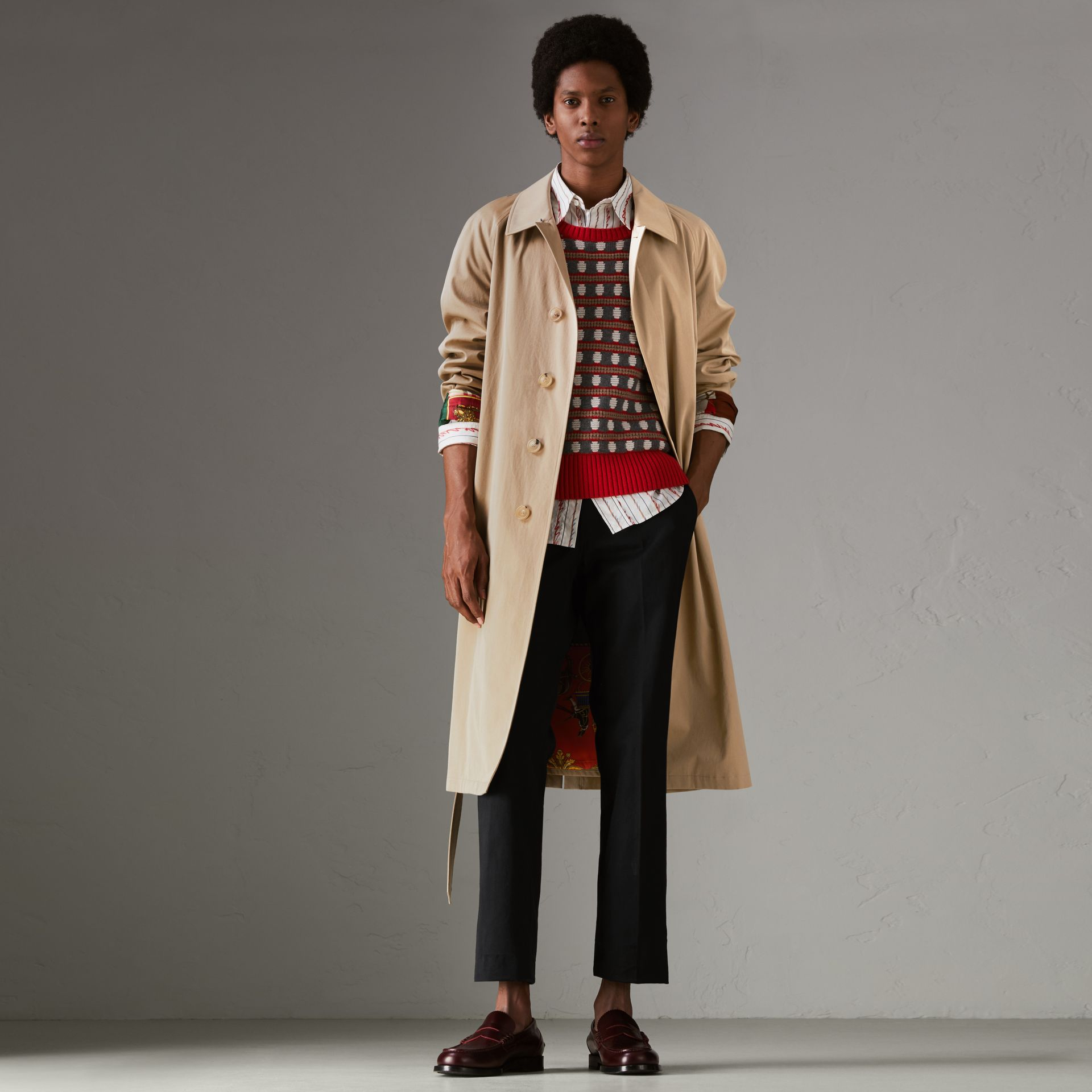 Archive-print-lined Tropical Gabardine Car Coat in Camel - Men | Burberry - gallery image 0