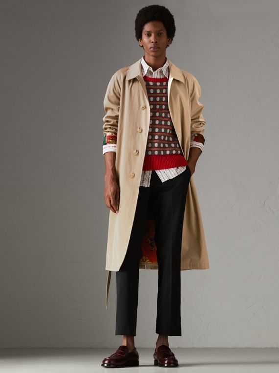 Archive-print-lined Tropical Gabardine Car Coat in Camel
