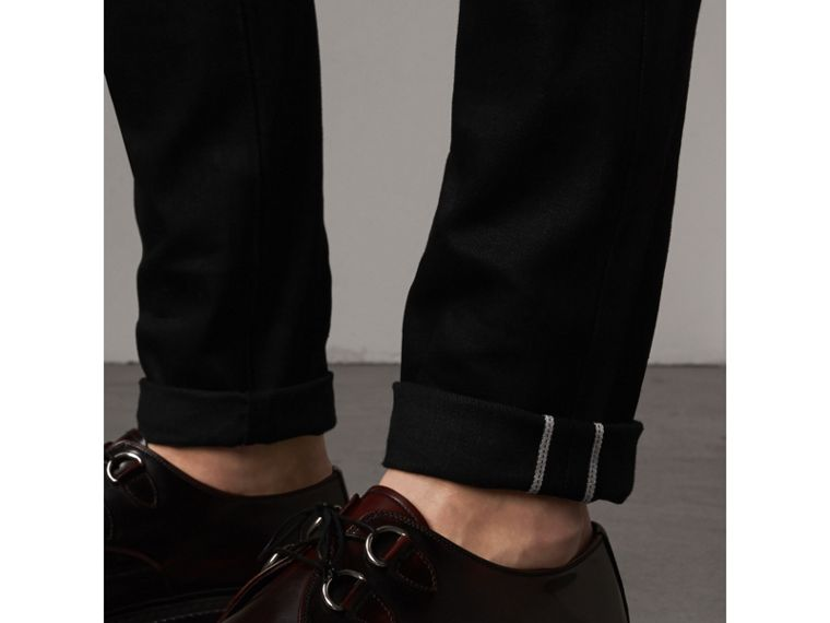 Skinny Fit Brushed Stretch Denim Jeans in Black - Men | Burberry - cell image 1