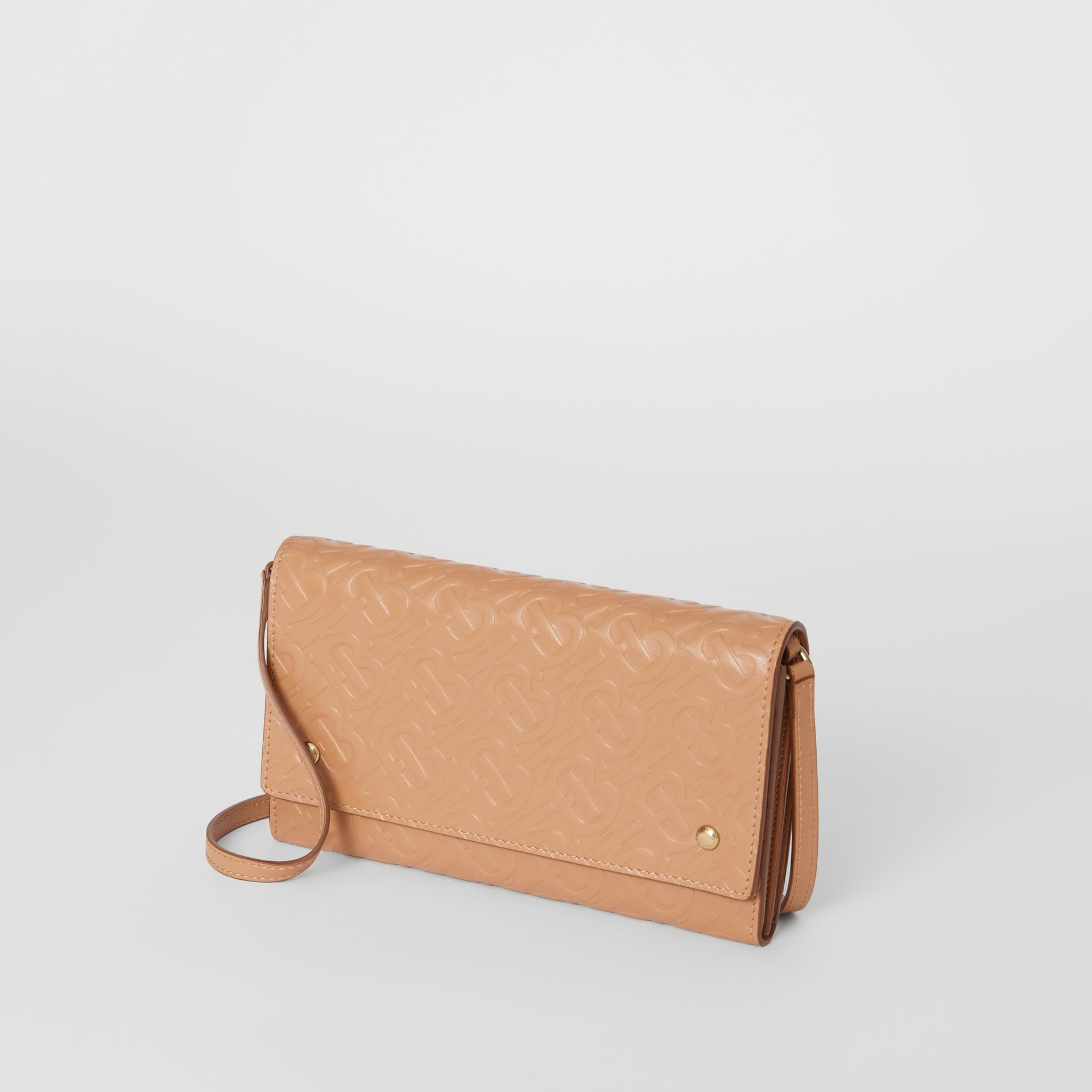 Monogram Leather Wallet with Detachable Strap in Light Camel - Women | Burberry Singapore - gallery image 4