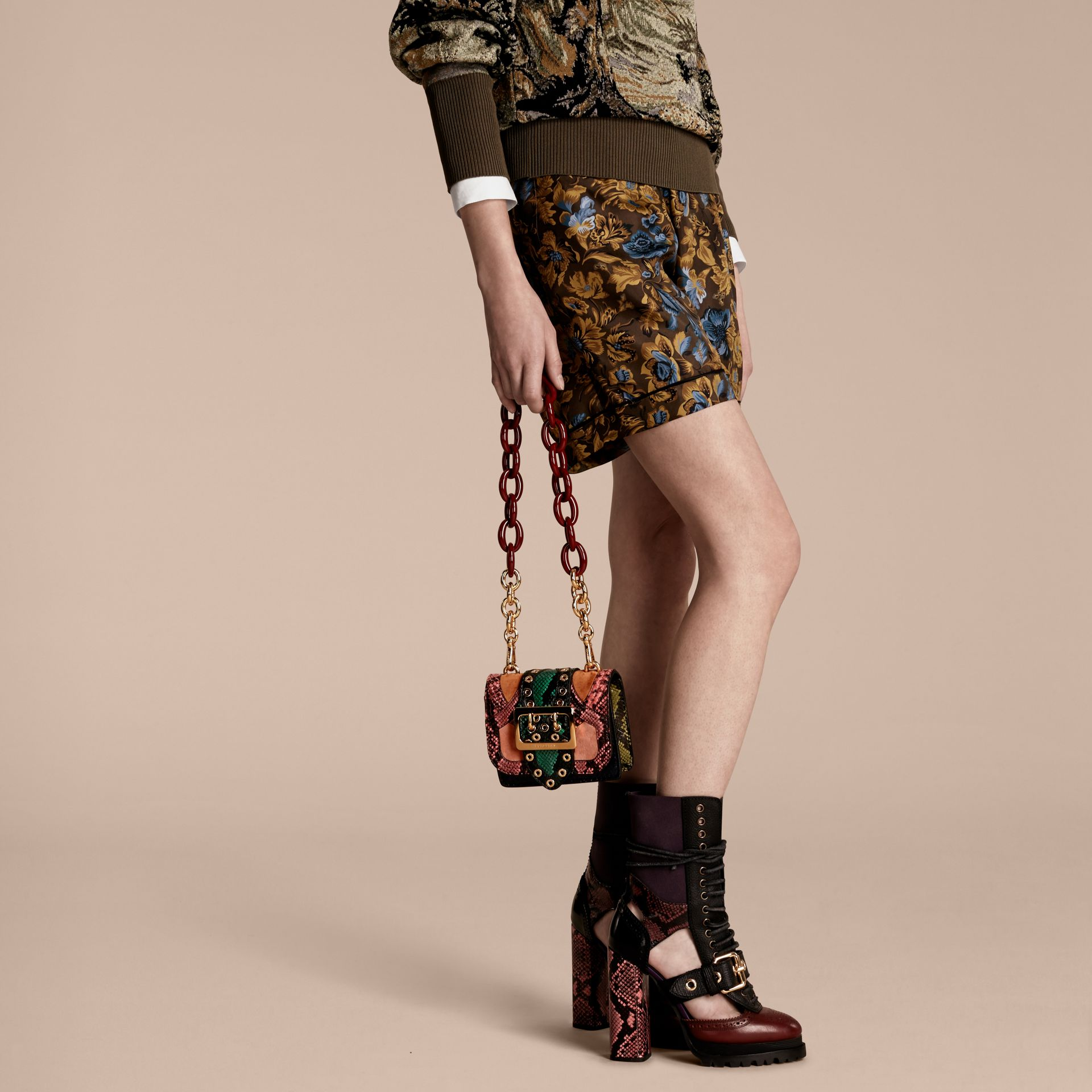 Rose pink The Mini Square Buckle Bag in Snakeskin and Velvet - gallery image 3