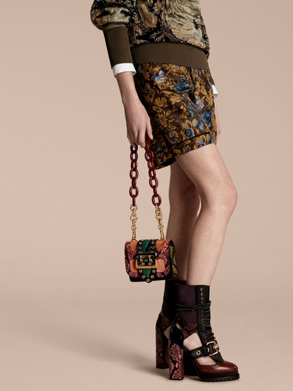 Rose pink The Mini Square Buckle Bag in Snakeskin and Velvet - cell image 2