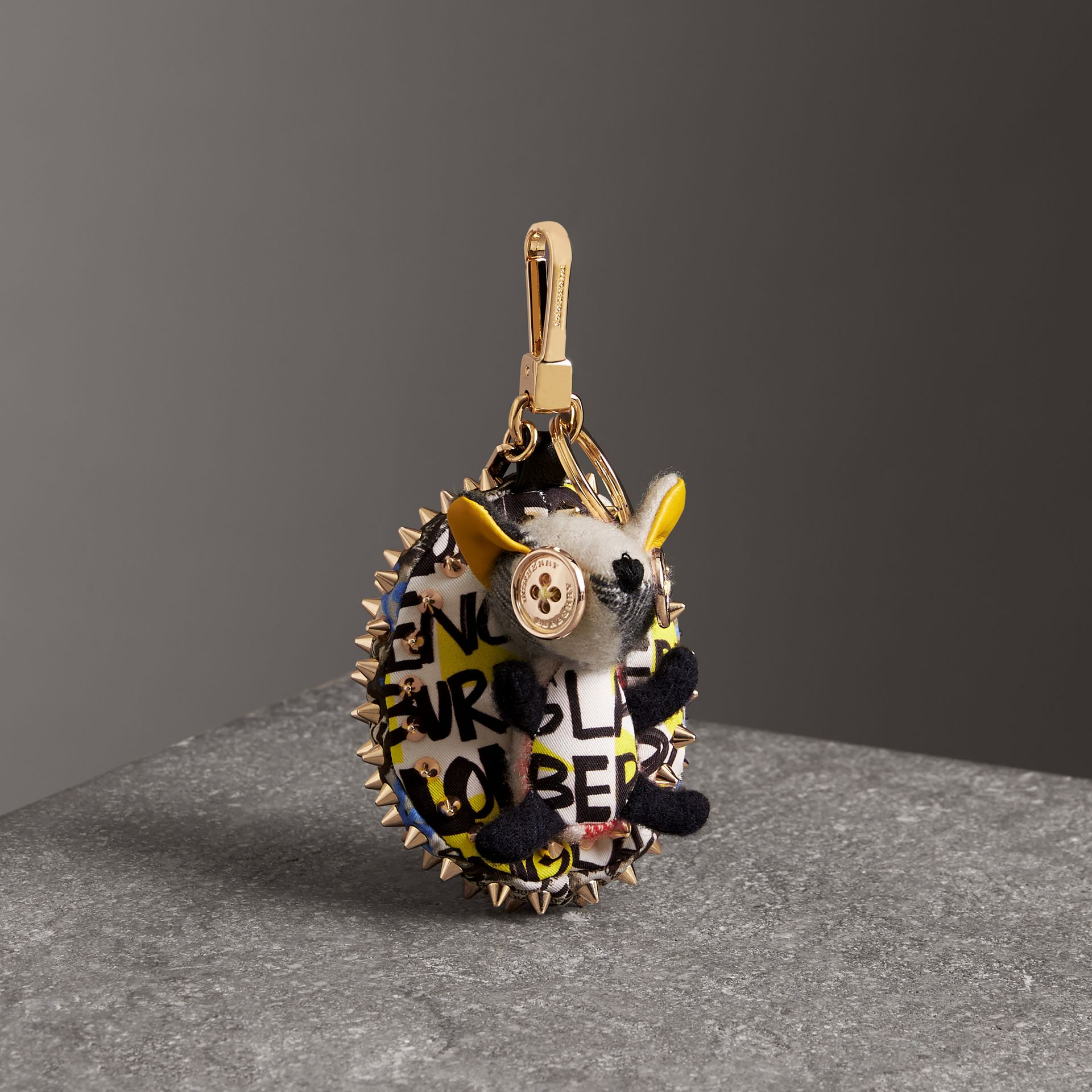 Bob The Hedgehog Graffiti Print Cotton Charm in Grey | Burberry Australia - gallery image 0