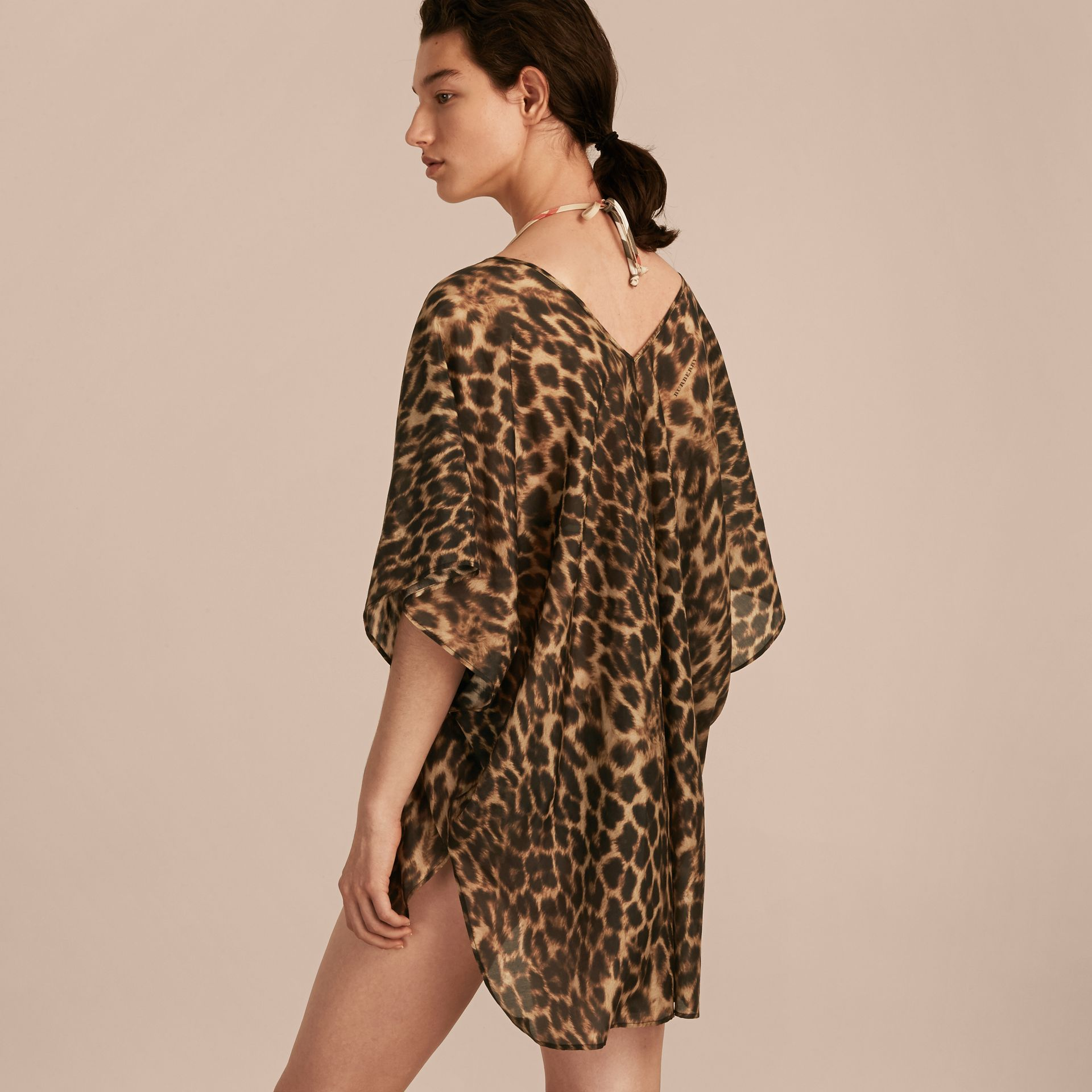 Animal Print Cotton Silk Swimwear Cover-up - gallery image 3