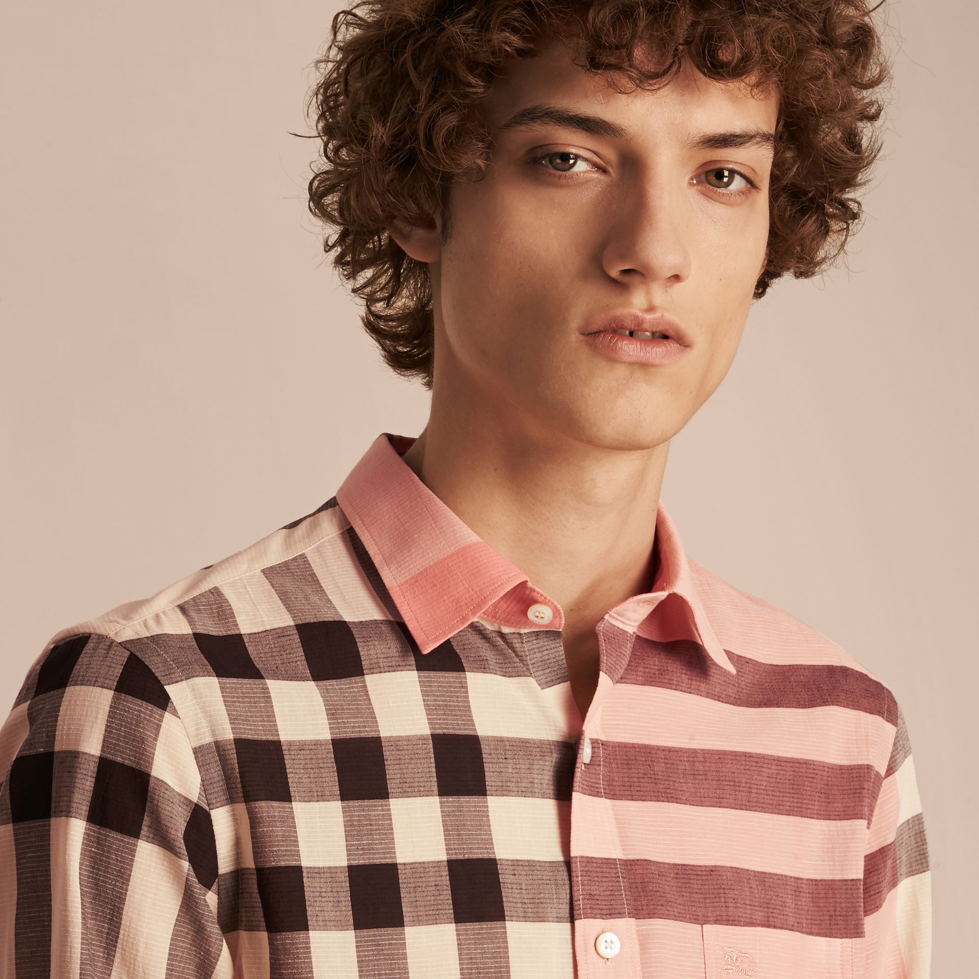 Check Cotton Poplin and Linen Shirt in Rose Pink - gallery image 5