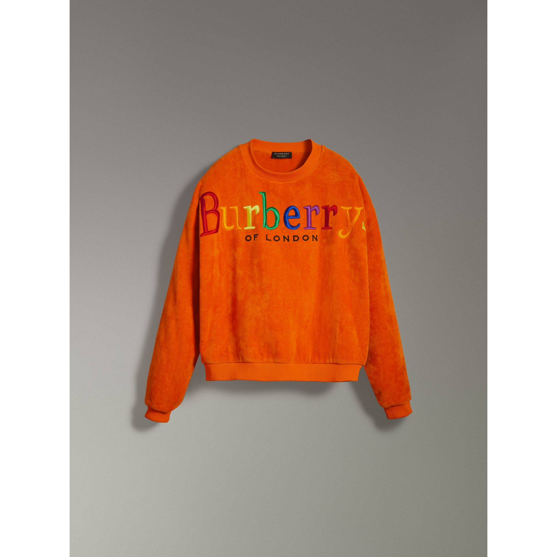 Archive Logo Towelling Sweatshirt in Tangerine | Burberry United States - gallery image 3