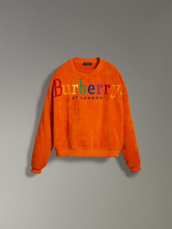 Archive Logo Towelling Sweatshirt in Tangerine | Burberry United States - cell image 3