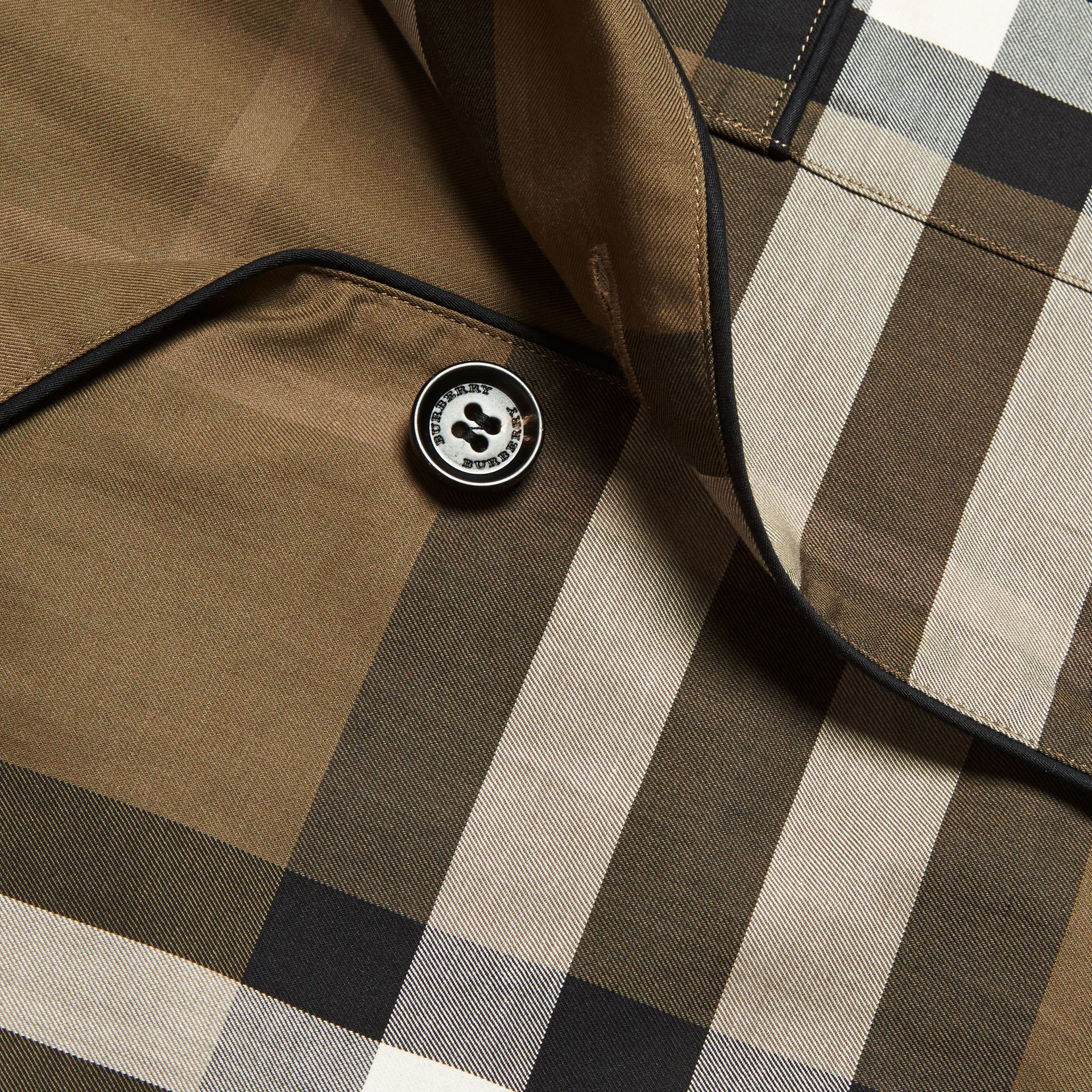 Dark olive Check Cotton Pyjama-style Shirt Dark Olive - gallery image 2