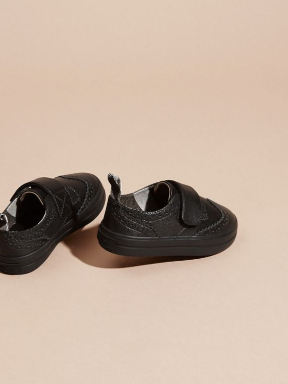 Brogue Detail Leather Trainers in Black - Children | Burberry - cell image 3
