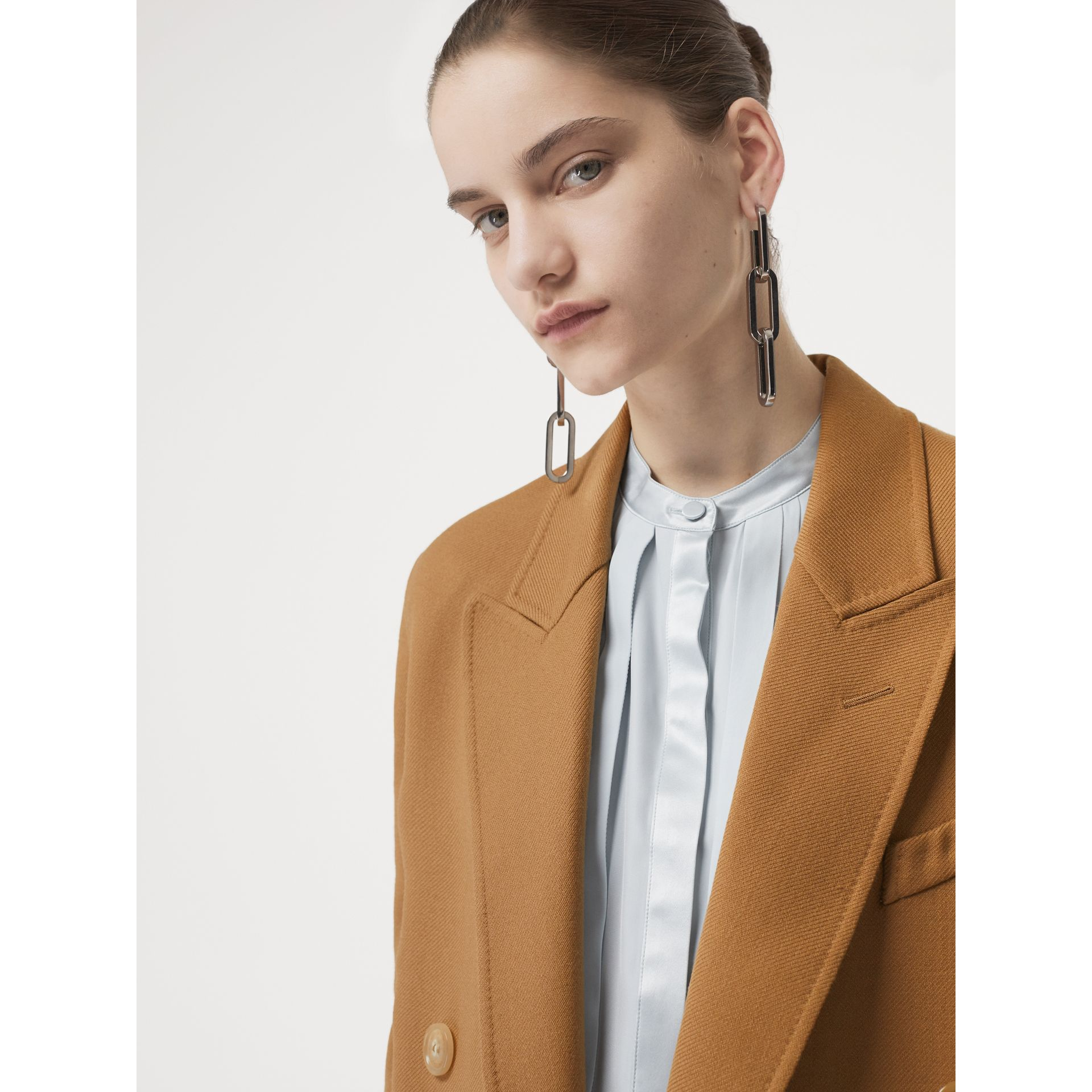 Double-breasted Wool Tailored Coat in Camel - Women | Burberry Singapore - gallery image 1