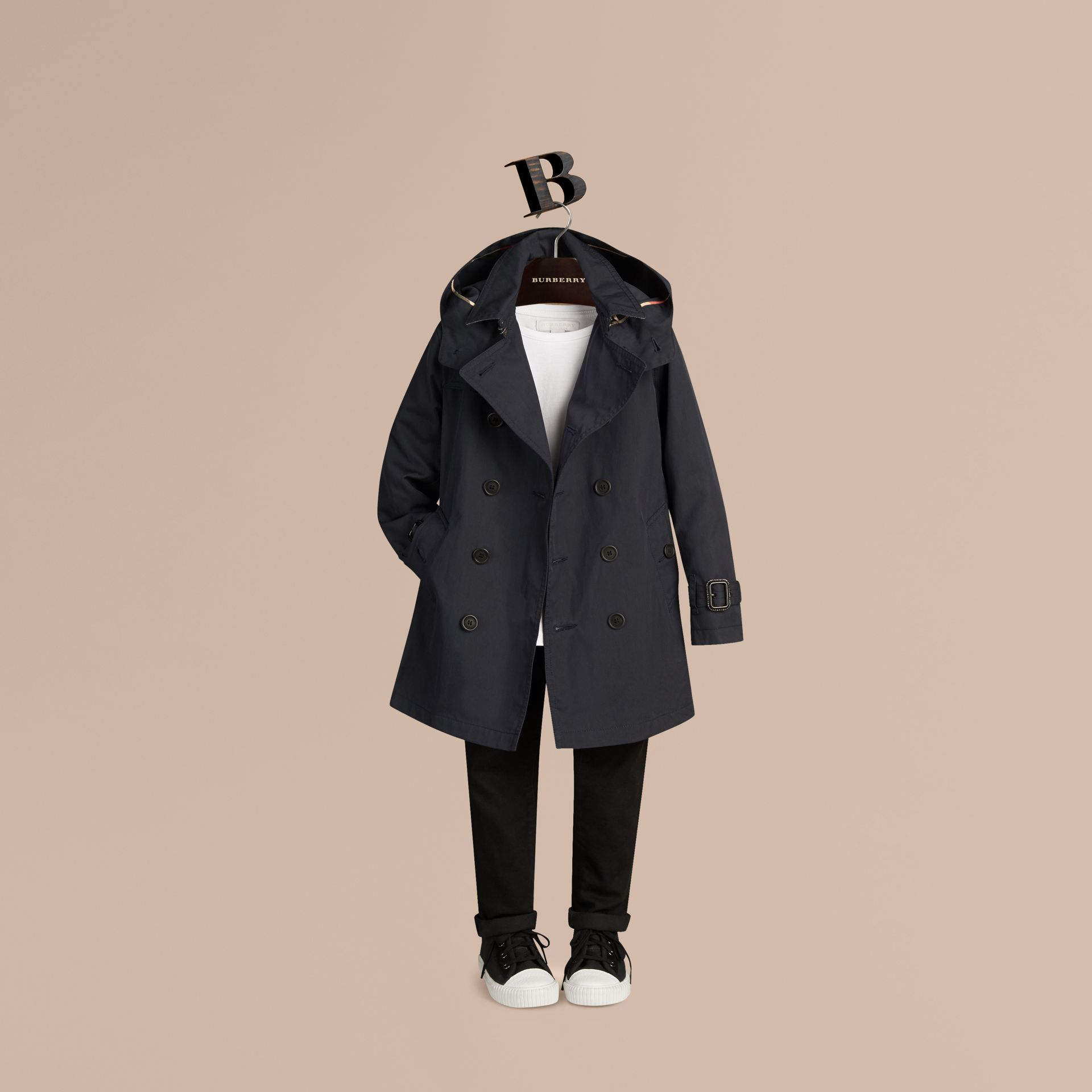 Hooded Cotton Twill Trench Coat Navy - gallery image 3