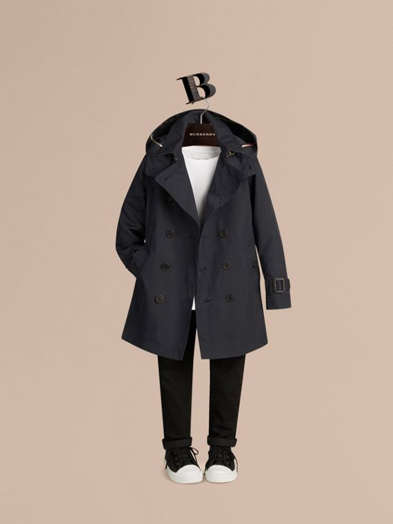 Hooded Cotton Twill Trench Coat in Navy - cell image 2