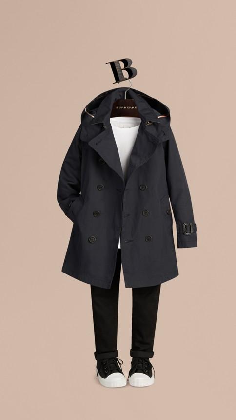 Marine Trench-coat à capuche en sergé de coton Marine - Image 3