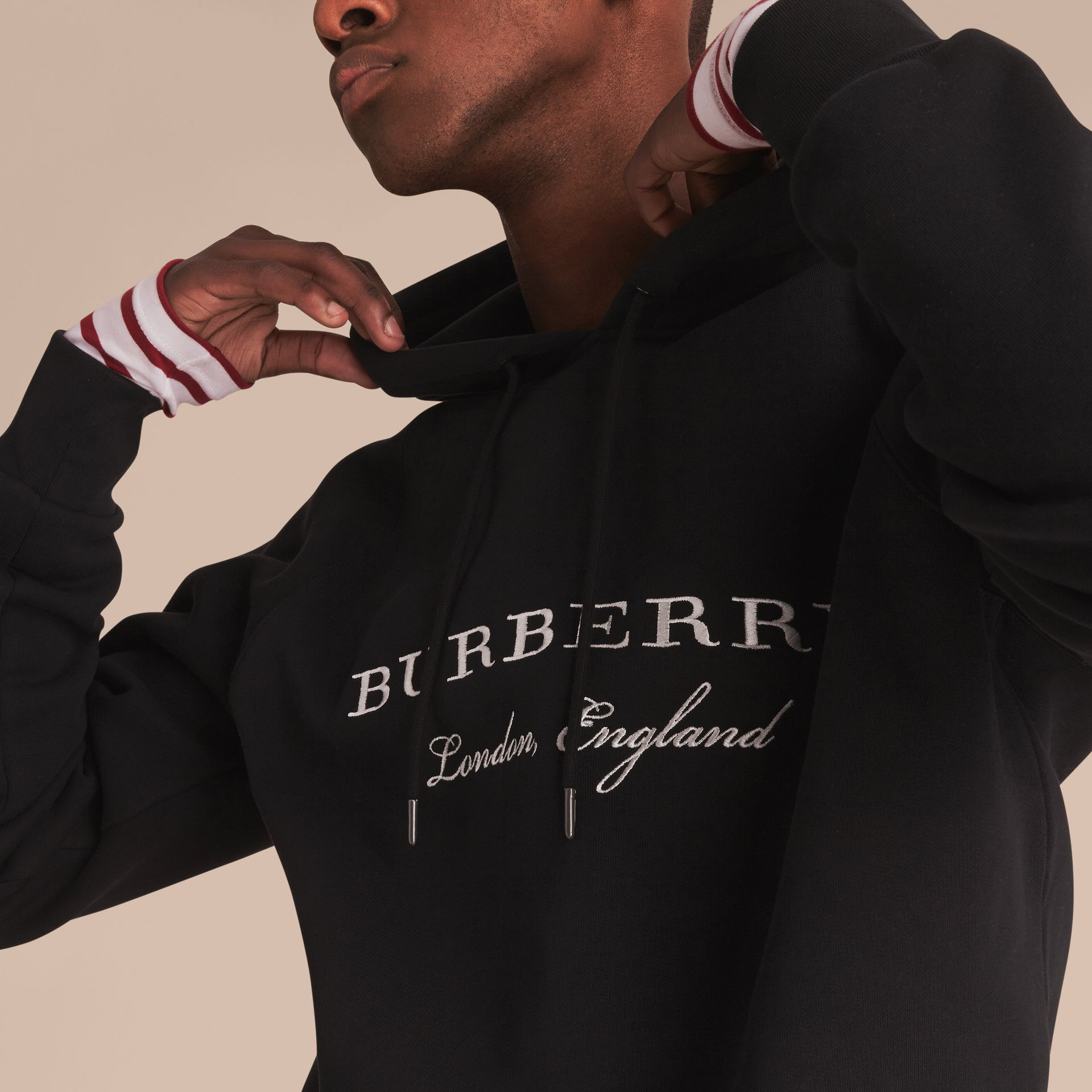 Embroidered Hooded Sweatshirt in Black - Men | Burberry - gallery image 5