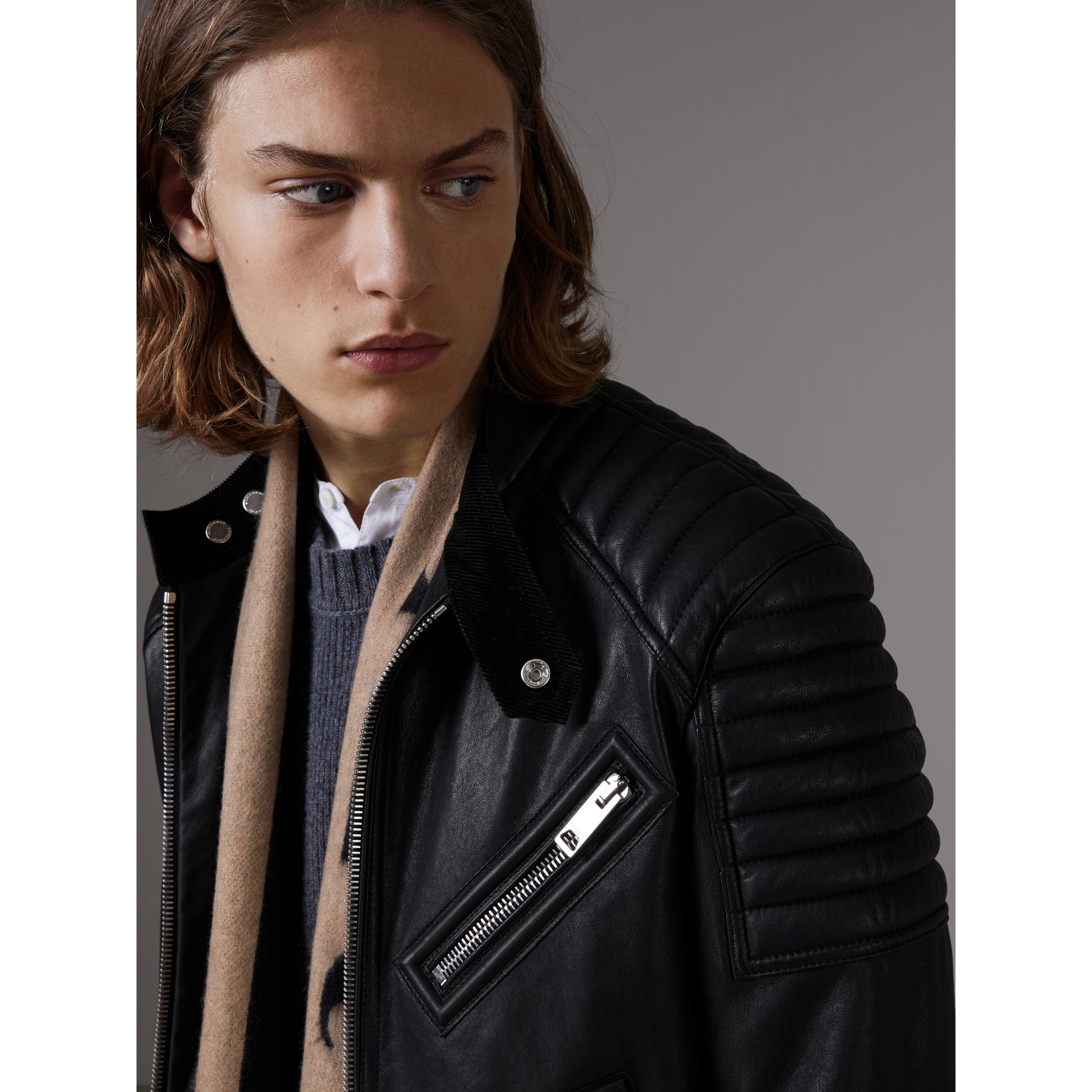 Panel Detail Lambskin Jacket in Black - Men | Burberry Singapore - gallery image 2