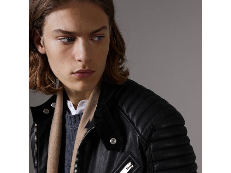 Panel Detail Lambskin Jacket in Black - Men | Burberry United States - cell image 1