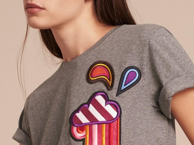 Appliquéd Weather Motif Cotton T-shirt Mid Grey Melange - cell image 4